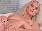 Kathy Anderson milf blonde in yellow dress fingers pussy