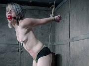 Bambi Belle is bound in rope with red ballgag her nipples clamped