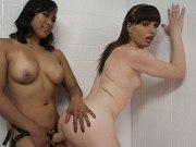 Natalie Mars ts fucks and straponed in lockerroom by asian Mia Li