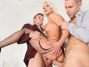 Cecilia Scott blonde office babe in stockings is double fucked