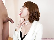 Aya's talented tongue make him lose his load into her mouth