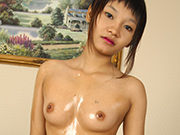 Gorgeous pixie haircut tomboy asian girl nude and oiled