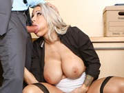 Busty Alyssa Lynn sucking and fucking cock at work