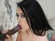 Hot brunette Katrina Jade sucks a bbc at gloryhole