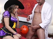 Teen witch Tiffany Star sucking and riding a massive cock on Halloween