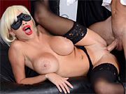 Masked busty chick fucks a stranger at the Halloween party