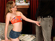 Coed girl in glasses seduces a man