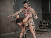 Scarlet de Sade is bound in rope exposed and fucked by maledom