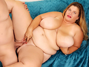 Big and bulky BBW gives a blowjob and then gets fucked good