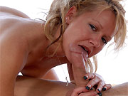 Horny milf blonde sucks and assfucked close up