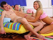 Teen Rosemary Moyer getting her ass and pussy sandwiched in MMF action