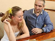 Petite teen student Nadya seduced and fucked by her tricky old teacher