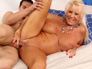 Horny old woman sucks a young dick and then gets her mature pussy reamed with it