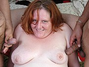 Redhead fatty in stockings Adrienne Plump sucks and gets double teamed