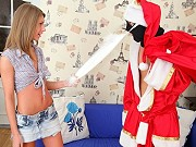 Adorable teen Krystal Boyd getting tricked and fucked by fake Santa