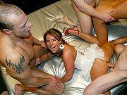 Cock hungry sluts Sexy Susi and Nina enjoying wild amateur gangbang