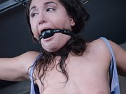 Gabriella Paltrova bound in leather and chains with pussy exposed