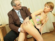 Teen student Vika sucking and getting fucked by her tricky old teacher