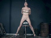 Kat Monroe naked bound in rope her shaved pussy toyed to orgasm