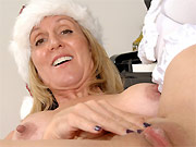 Jenna Covelli busty Christmas blonde in white stockings