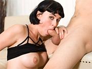 Milf sucks his juicy cock until he cums on her face