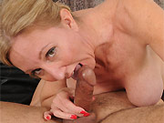 Jenna Covelli busty mature blonde sucks and fucks on bed