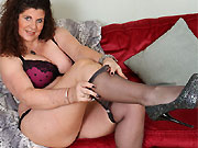 Gilly Sampson busty mom in lingerie and pantyhose strips