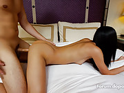 Skinny brunette gets pounded doggy and missionary in her first scene