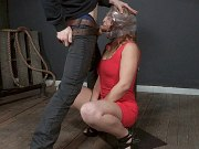 Fallon West in red dress is bound and mouth fucked by maledom