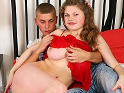 Busty teen plumper giving a blowjob and getting fucked on the bed