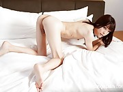 Slender babe with tiny tits and cock begs for your cock deep in her transpussy