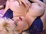 Busty fat mature blonde in sexy lingerie showing her pussy and toying