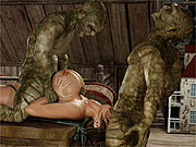 Attic threesome with green monsters