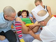 Pigtailed teen Natasha getting double teamed by lucky dudes