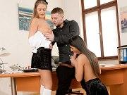 Angela Allison and Tiffany schoolgirls having sex with principal