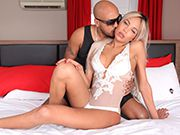 Amazing blonde tgirl Rebecca gets pounded