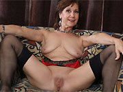 Elle Denay horny mom in stockings strips and toying