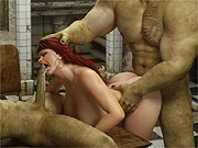 Knockers redhead taken by big cock monsters