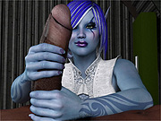 Blue elf takes black cock and gives him relief