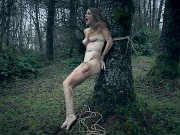 Ashley Lane is bound in the woods and indoors made to orgasm