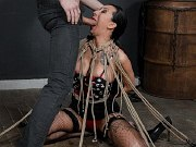 Lily Lane busty sub bound in rope spider and fucked by maledom