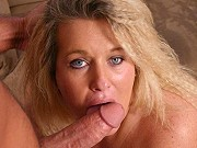 Fat mature blonde Jenna gives a blowjob and enjoys her pussy drilled