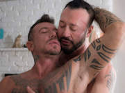 Tattooed daddy Ray and bearded daddy Wilcox rut like animals