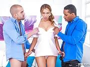 Russian pornstar Ani Blackfox interracial double penetration