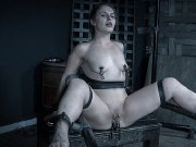 Fallon West is bound in spreading for sextoys orgasm in dungeon