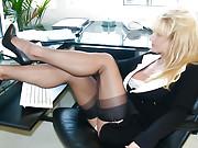Hot Blonde Secretary Wearing Black Stockings and Heels