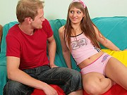 Russian teen Ginger giving a blowjob and getting her pussy dicked