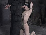 Mei Mara asian in black dress is rope bound stripped in dungeon