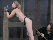 Renee Blaine rope bound in dungeon for orgasm training by maledom
