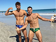 A collection of photos of real men just hanging out in their skimpy speedos.
